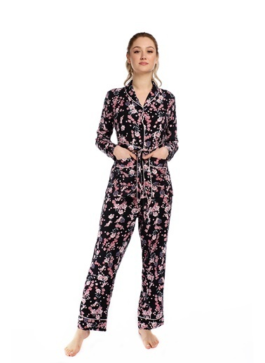 Pamuk & Pamuk Kadın Siyah Bahar Çiçekli  Gömlek Takım Renkli